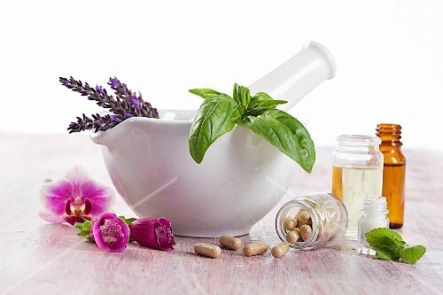 Healing herbs and flowers, oils and pills