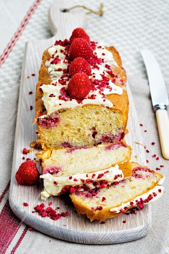 White chocolate & raspberry loaf cake, sliced
