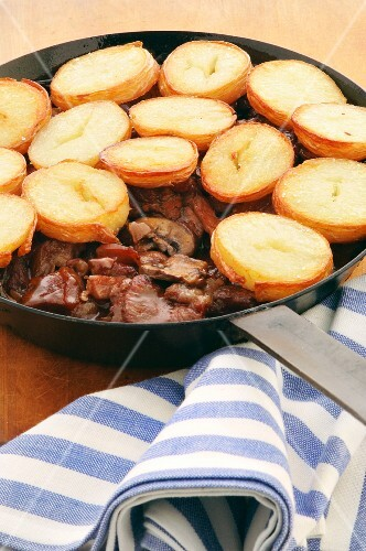 Beef and potato stew in a pan