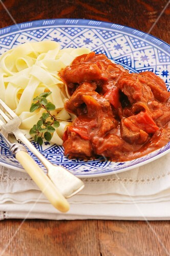 Beef goulash with ribbon pasta