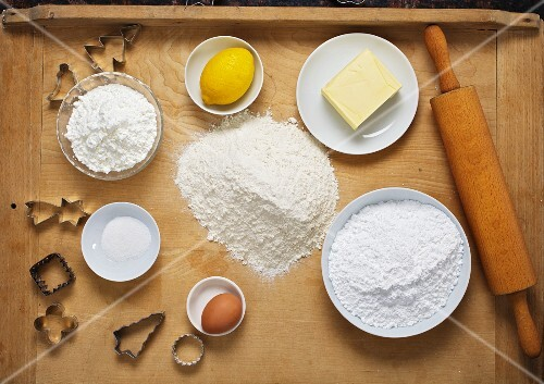 Ingredients for baking Christmas biscuits