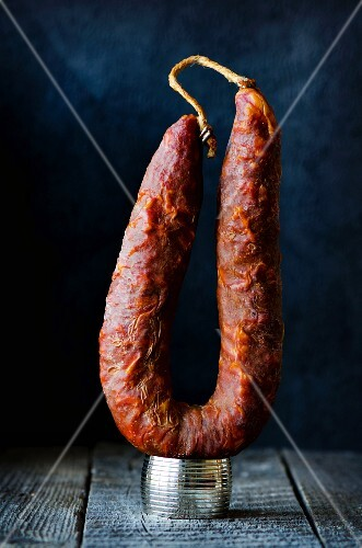 A whole smoked salami from Sardinia