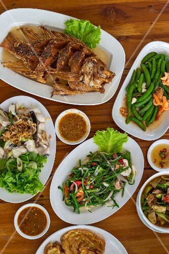 Various Thai dishes in a restaurant