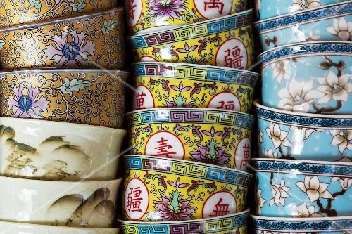 Colourful Chinese tea bowls in Chinatown, Bangkok, Thailand