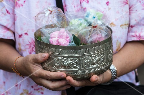 An offering for Buddhist monks in Thailand