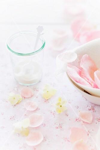 Edible rose petals and sugar