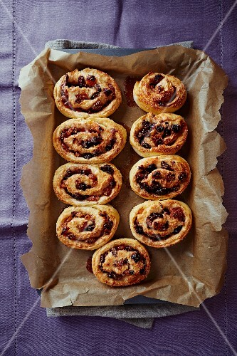 Christmas buns with dried fruit and spices