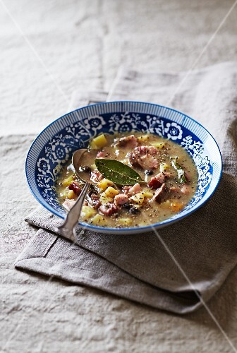 Bread soup with sausage and bacon (Silesia, Poland)