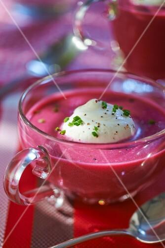 Cream of beetroot soup with horseradish foam