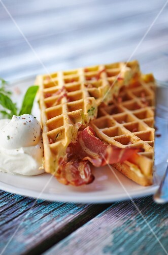 Courgette waffles with bacon