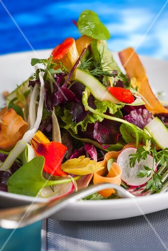 A mixed leaf salad with carrots and nasturtiums