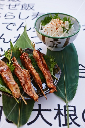 Teriyaki skewers and rice with mushrooms (Japan)
