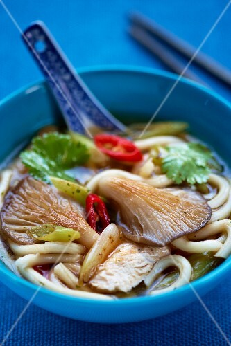 Udon noodle soup with oyster mushrooms (Asia)