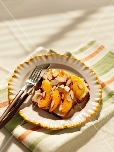 Peach and almond crostino