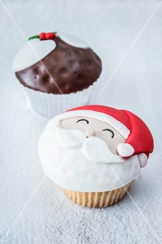 Two Christmas cupcakes
