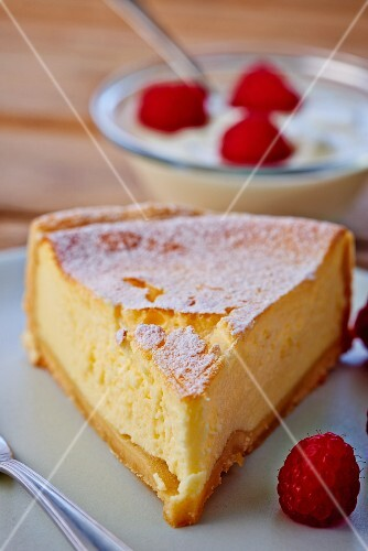 A piece of raspberry cheesecake