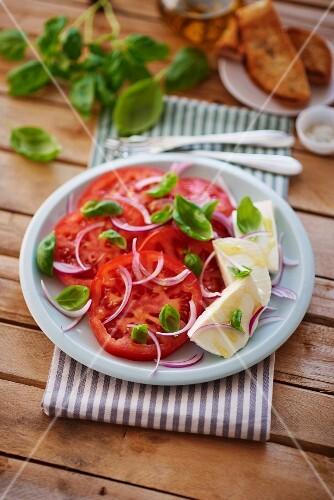 Tomato salad with onions, basil and mozzarella