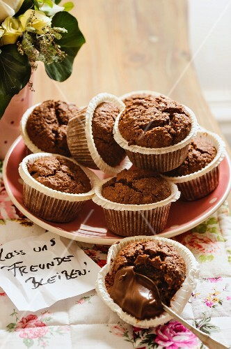 Filled brownie muffins