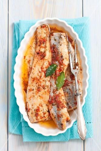 Marinated herring with dried tomato pesto