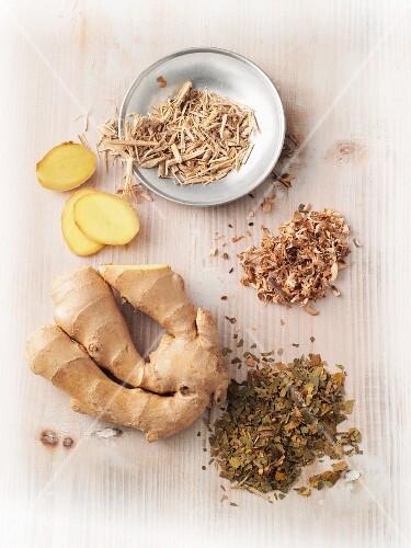 Adrenal gland stimulating plants – gingko biloba, ginger, Siberian ginseng and elm