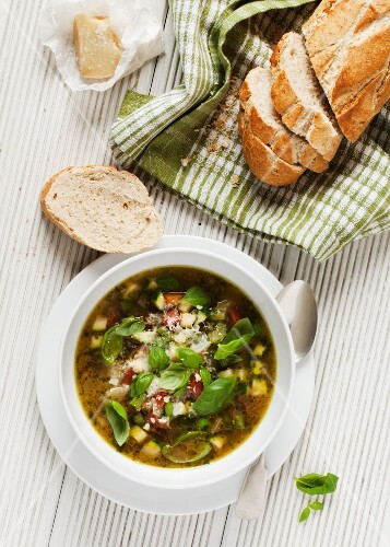 A bowl of Pistou soup served with crusty bread