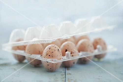 Speckled mini chocolate eggs in a plastic egg box