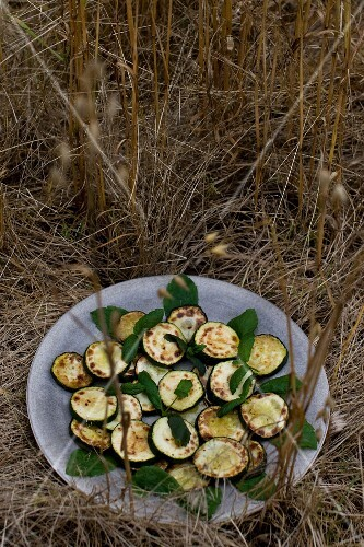 Zucchini alla scapece (courgettes with garlic and mint, Italy)