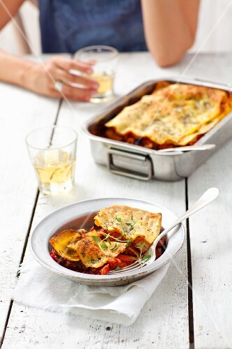 Vegetarian ratatouille lasagne with pepper, aubergine, courgette, onion and tomatoes