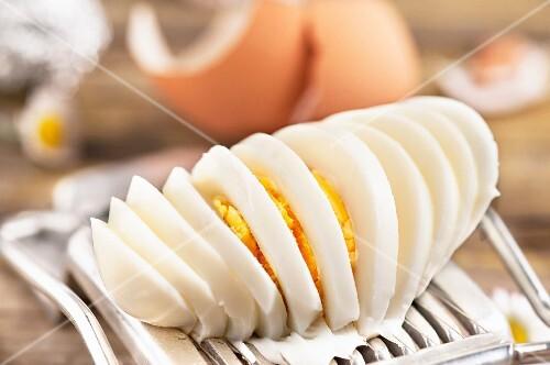 A sliced egg