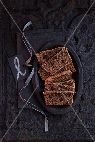 Homemade spiced cake with chocolate