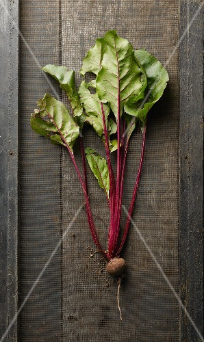 A beetroot on a wooden surface