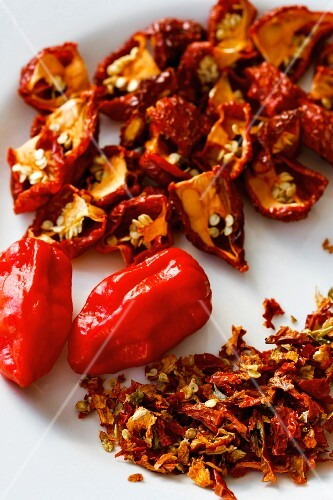 Red chilli peppers, fresh and dried
