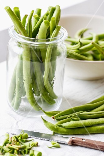 Green beans being preserved