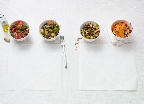 Four fast vegan salads