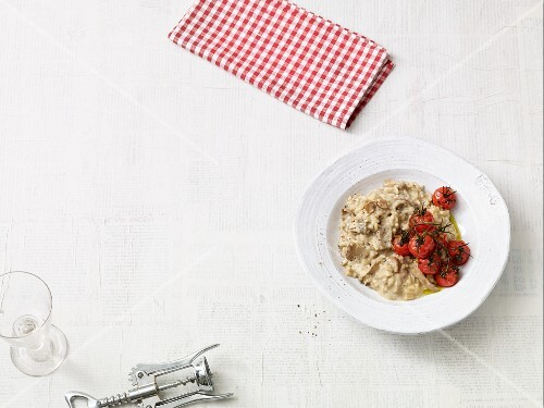 Porcini mushroom risotto with tomatoes