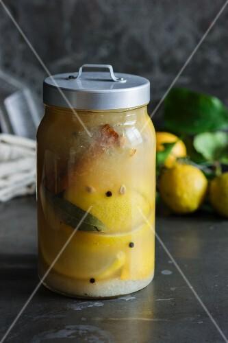 Preserved lemons in a screw-top jar