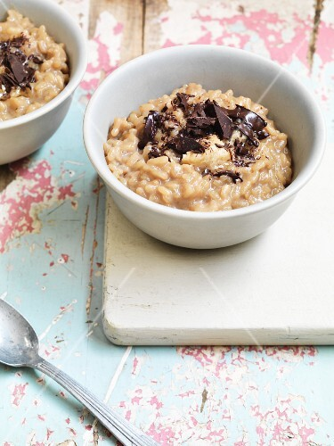 Rice pudding with masala, chai tea and chocolate