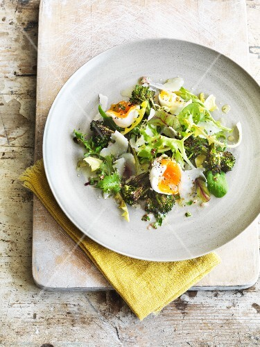 Broccoli salad with egg and Parmesan cheese