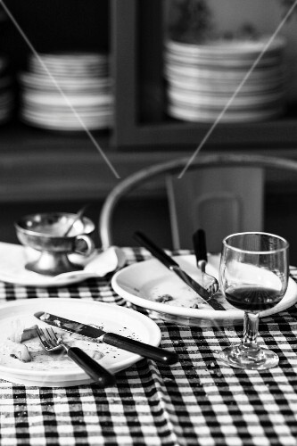Used crockery and a glass on a table