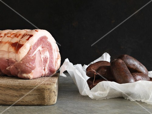 Pork roulade and black pudding