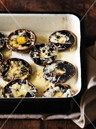 Oven-baked portobello mushrooms