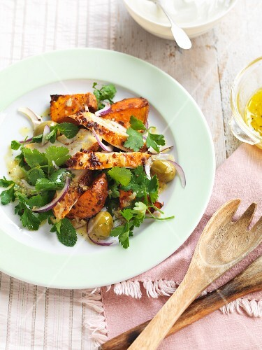 Harrissa chickenwith sweet potatoes in a salted lemon sauce