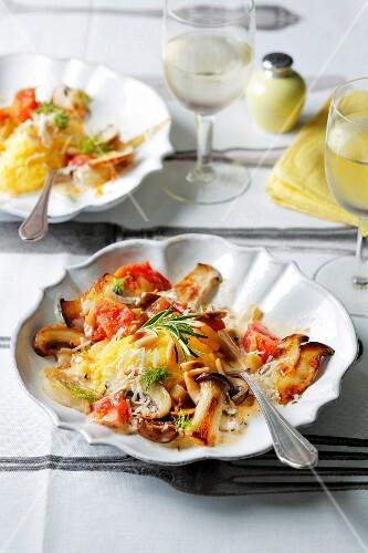 Polenta dumplings with mushroom ragout