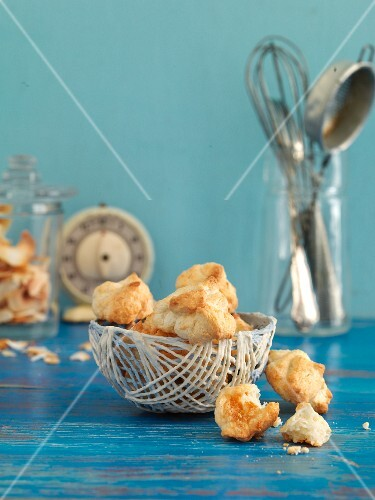 A basket of coconut macaroons