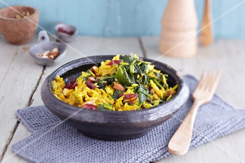 Spiced spinach rice