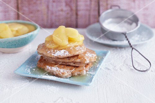 Vegan pancakes with apple syrup