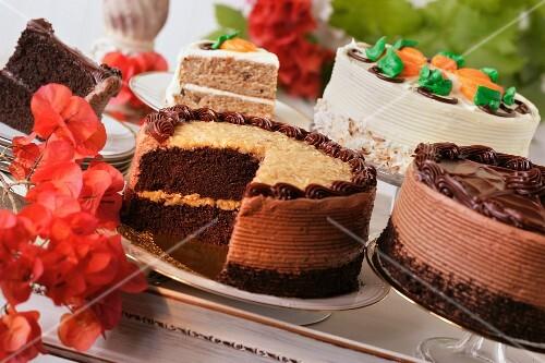 Various cream cakes
