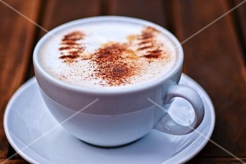 A cappuccino with cocoa powder