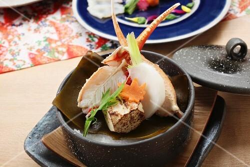 Clams with turnips, carrots and tofu on Kombu (Japan)
