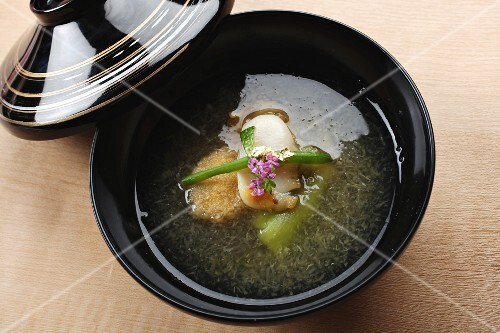 Dashi broth with vegetables (Japan)